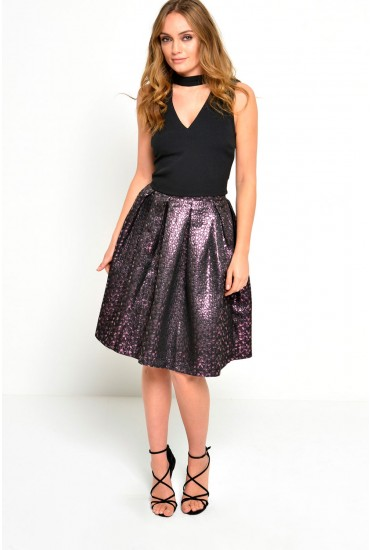 Penny Metallic Pleated Skirt in Pink