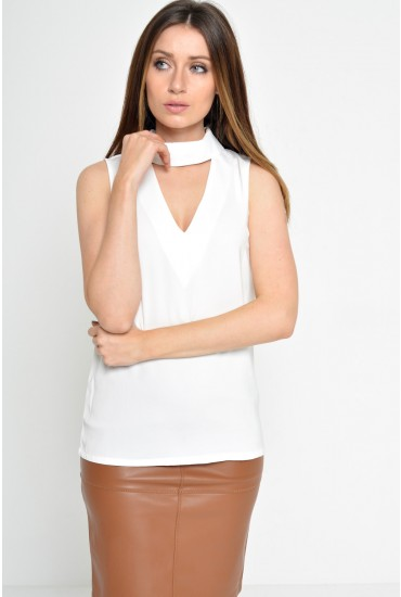 Malika Cut Out Top in White