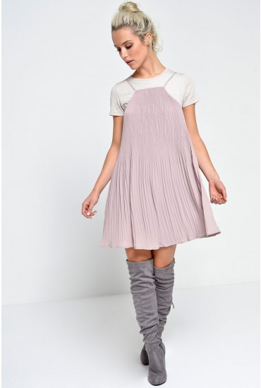 Cara Pleated Mini Cami Dress in Dusty Pink