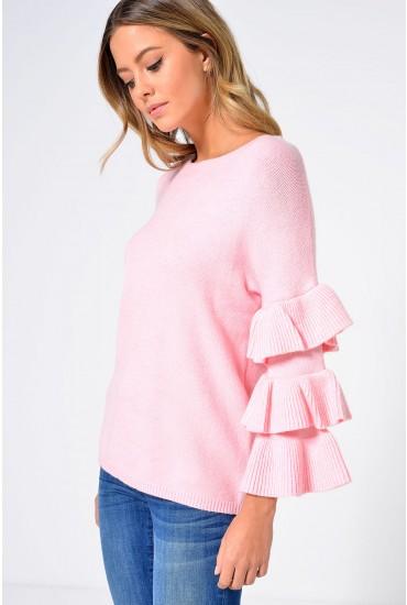 Charlotte Ruffle Sleeve Jumper in Pink