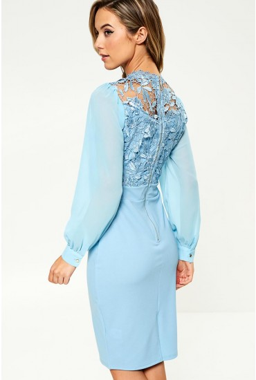 Kai Lace Top Occasion Dress in Baby Blue