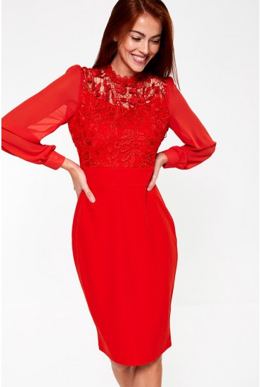 Kai Lace Top Occasion Dress in Red