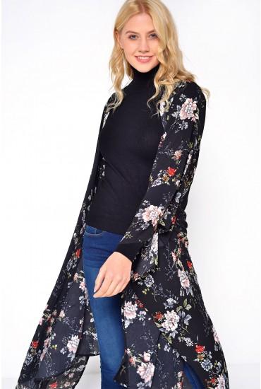 Leanna Floral Kimono in Black