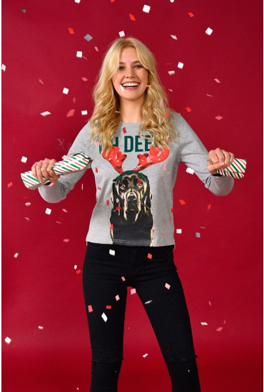 Deer Xmas Sweat in Grey