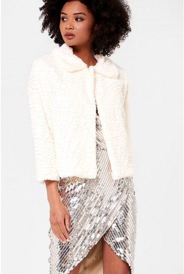 Karen Cropped Fur Jacket in Cream