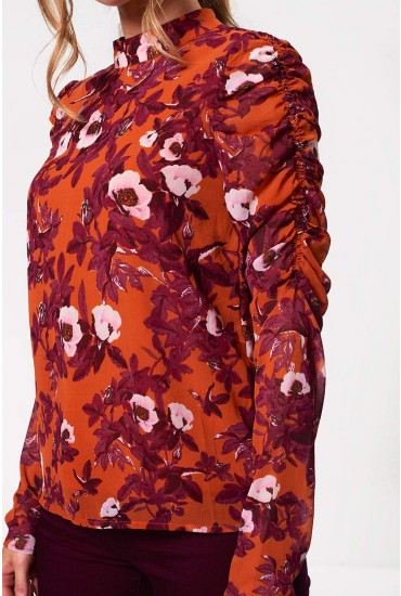 Karen Long Sleeve Top in Rust Floral Print