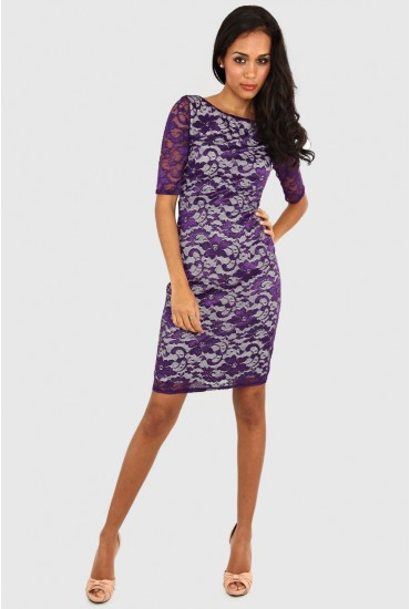 Kate Lace Dress in Purple