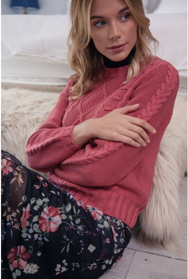 Katrina Long Sleeve Cable Knit Jumper in Antique Rose