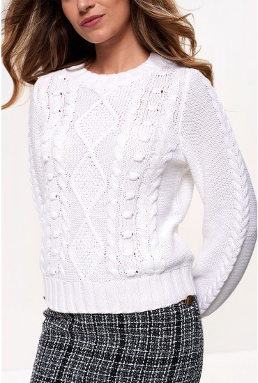 Katrina Long Sleeve Cable Knit Jumper in White
