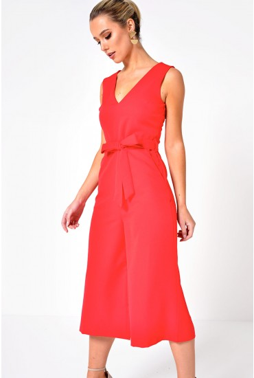Donna Culotte Jumpsuit in Cherry