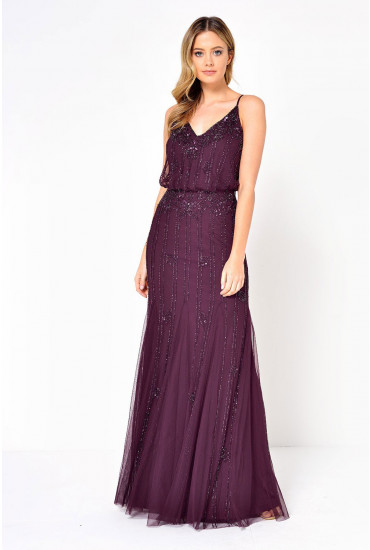 Keeva Hand Embellished Maxi Dress in Burgundy