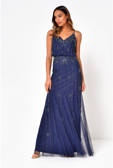 Keeva Hand Embellished Maxi Dress in Navy