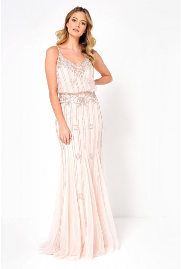 Keeva Hand Embellished Maxi Dress in Pink