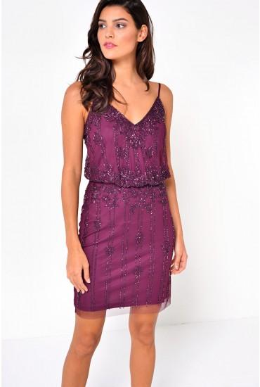 Keeva Short Beaded Dress in Wine