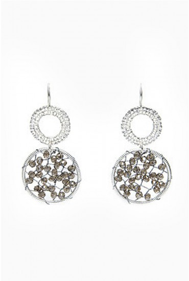 Kelly Beaded Drop Earrings in Silver