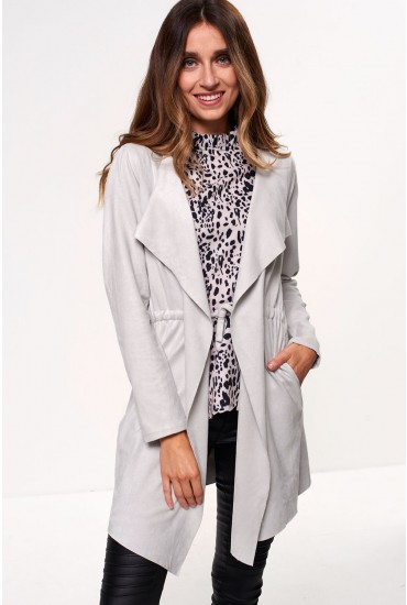 Kerri Suedette Waterfall Jacket in Light Grey