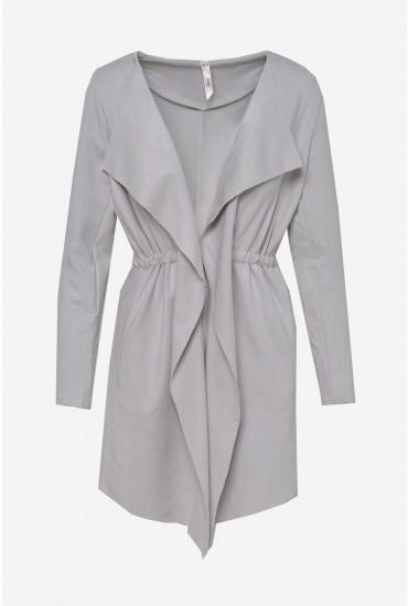 Kerri Suedette Waterfall Jacket in Light Grey
