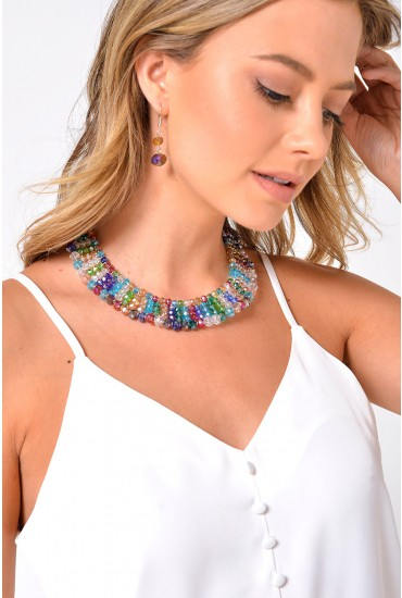 Luella Beaded Necklace and Earring Set in Multi
