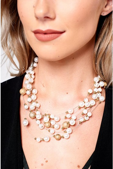 Lorraine Gold and Pearl Layered Necklace
