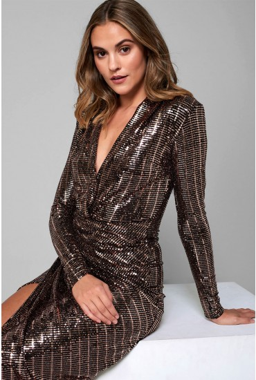 Kim Deep V Midi Dress in Gold Sequin