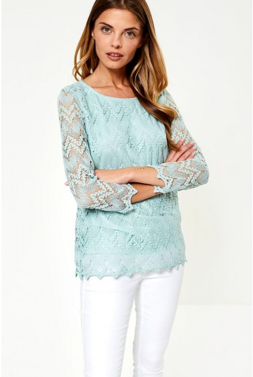 Kima Lace Top in Mint