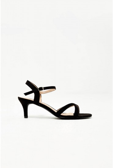 Ami Kitten Heel Sandals in Black Suede
