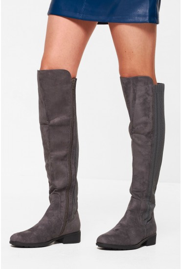 Rachel Knee High Boots in Grey Suede