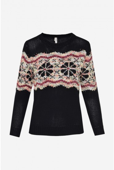 Aine Long Sleeve Knit Jumper in Black