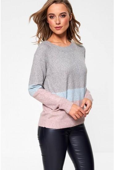 Doffy Knit Jumper in Grey Stripe