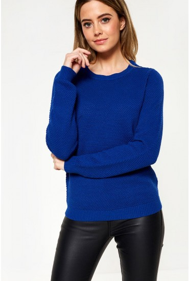 Chassa Long Sleeve Knit Top in Electric Blue