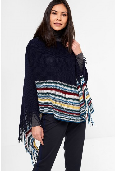 Asher Knitted Poncho with Tassle Trim in Navy