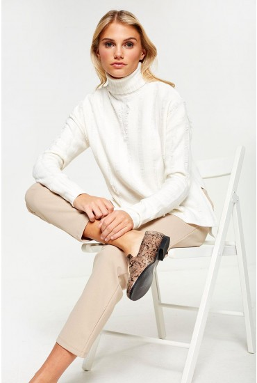 Gigi Roll Neck Knitwear in Cream