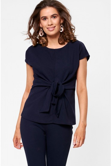 Ellie Knot Front Occasion Top in Navy