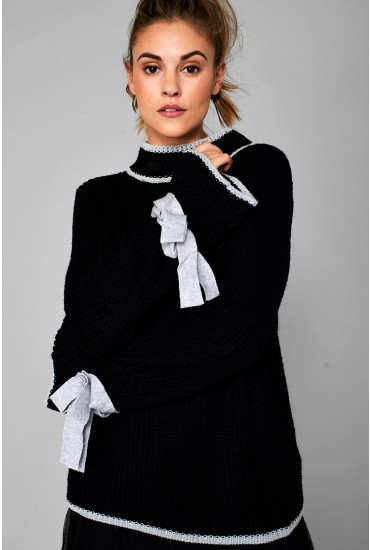 Imogen High Neck Knitted Jumper in Black
