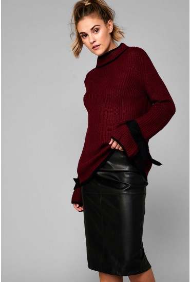 Imogen High Neck Knitted Jumper in Wine