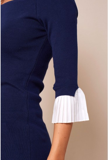 Gordon Pleated Sleeve Bardot Top in Navy