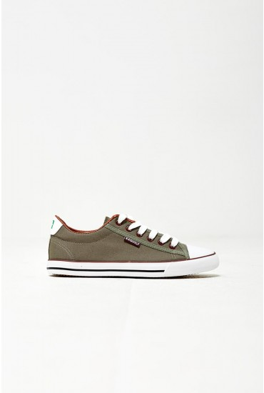 Kye Canvas Trainers in Khaki