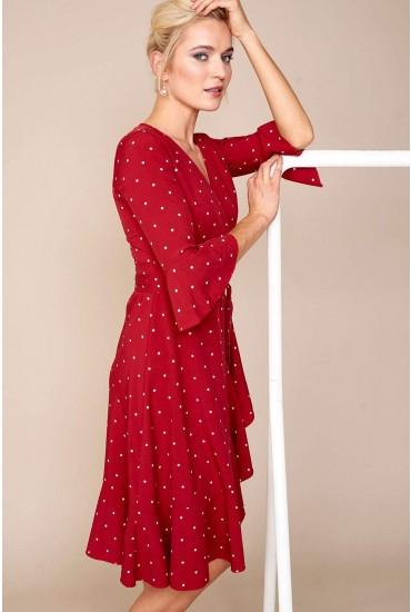Perri Polka Dot Wrap Dress in Burgundy