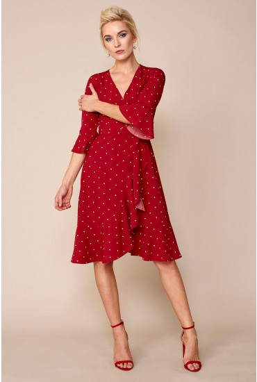 Perri Polka Dot Wrap Dress in Burgundy
