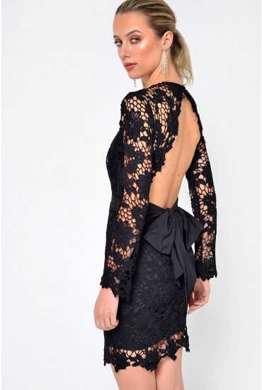 Darling Lace Short Dress in Black