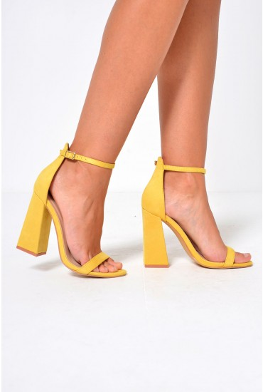 Jules Strappy Block Heels in Yellow
