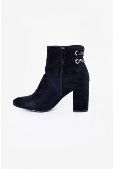 Jazz Suede Heeled Ankle Boot in Black