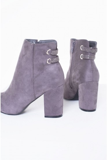 Jazz Suede Heeled Ankle Boot in Grey