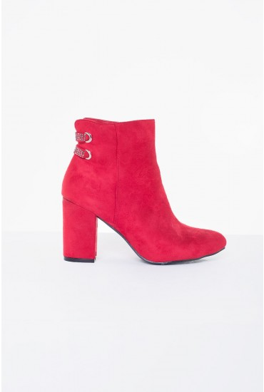 Jazz Suede Heeled Ankle Boot in Red