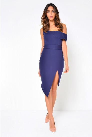 Talia Off Shoulder Midi Dress in Navy