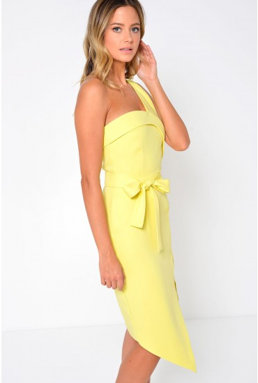 Carlie One Shoulder Midi Dress in Yellow