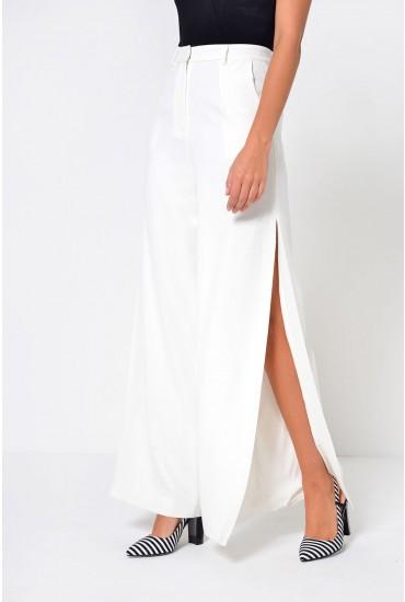 Olivia Deep Side Split Trousers in White