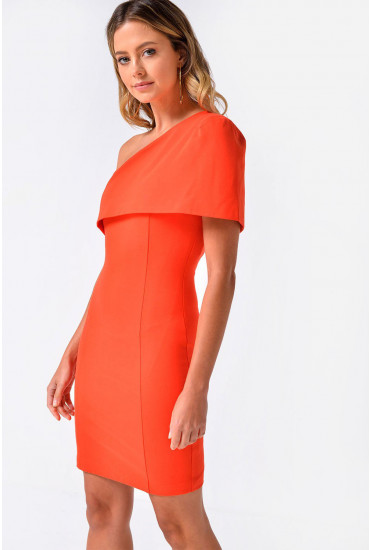 Carol One Shoulder Cape Mini Dress in Orange