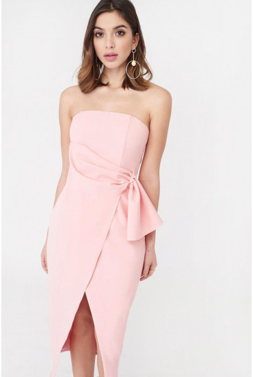Lucy Bandeau Wrap Over Dress in Pink