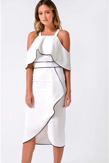 Lola Off Shoulder Contrast Piping Dress in White